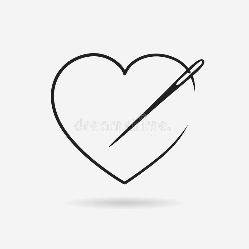 Needle with string in heart shape stock illustration