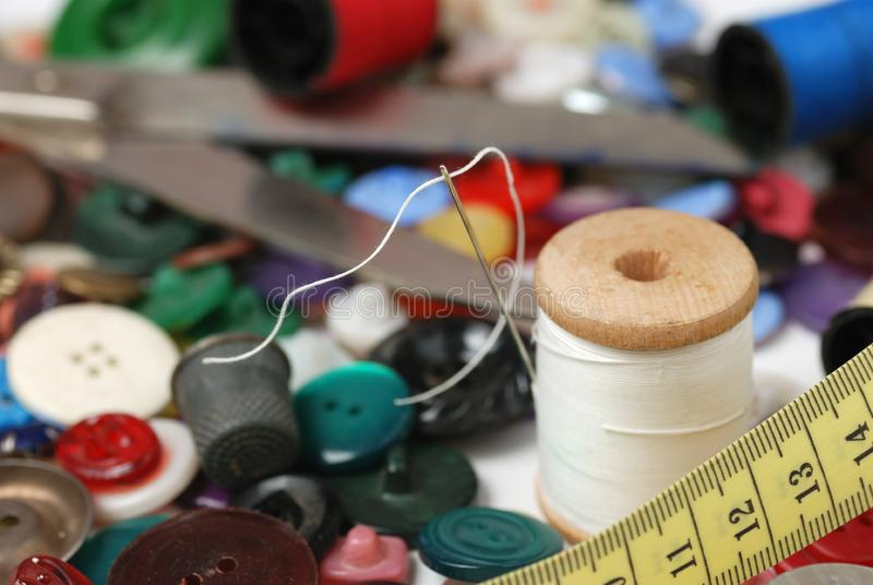 Needle and a thread stock photography