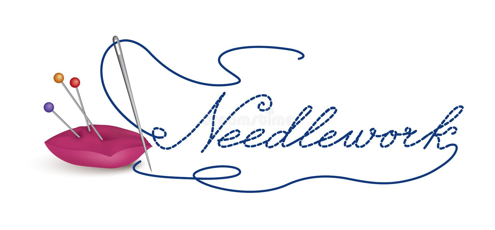 Needle And Thread Label Sewing Sign Needlework Symbol