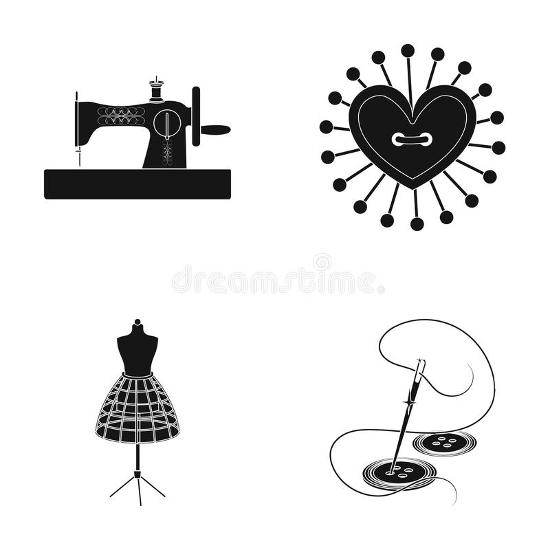 Needle and thread, sewing machine, pincushion, dummy for clothing. Sewing and equipment set collection icons in black. Style vector symbol stock illustration royalty free illustration