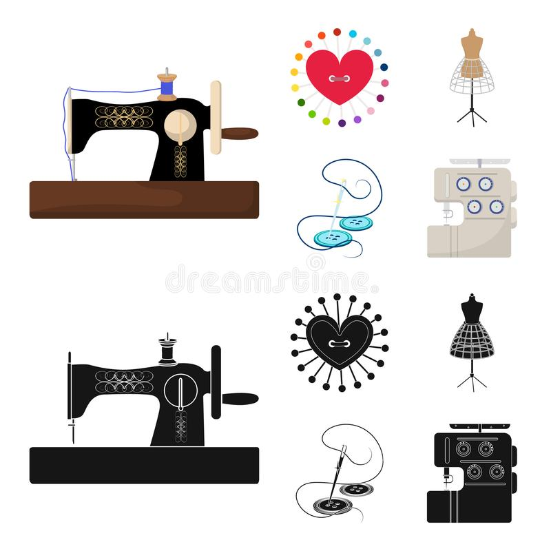 Needle and thread, sewing machine, pincushion, dummy for clothing. Sewing and equipment set collection icons in cartoon. Black style vector symbol stock vector illustration