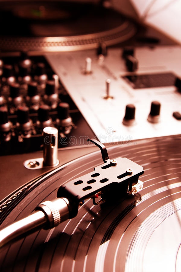 Needle on the vinyl record. Close shot of top class vinyl equipment for a hip-hop scratch dj stock photography