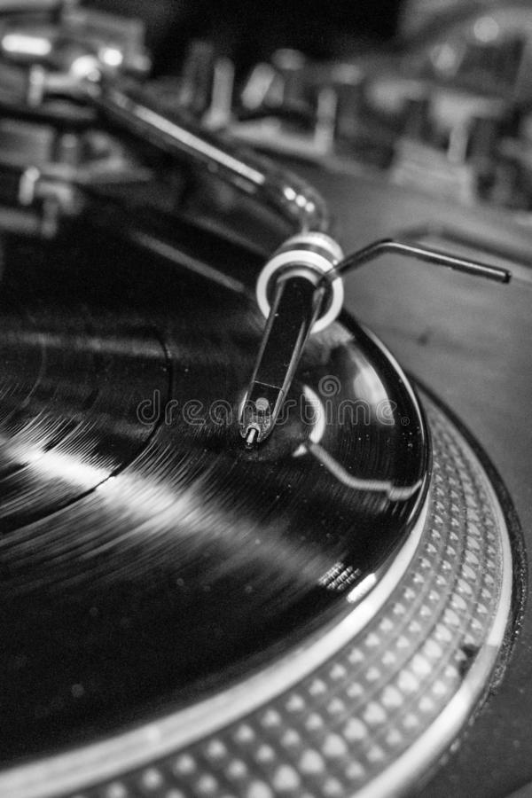 Needle on a vinyl record close up royalty free stock images