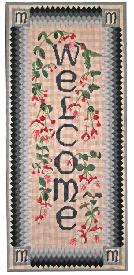 Needlepoint Welcome stock photography
