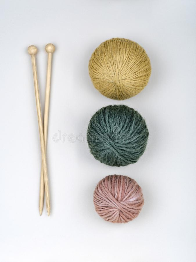 Needles and clews for knitting. stock photos