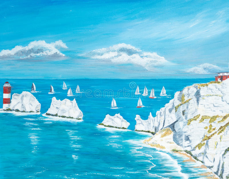 The Needles Isle of Wight. Painting of The Needles on the Isle of Wight royalty free stock image