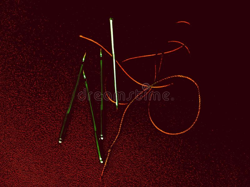 Needles and thread on a background of textured red paper stock images