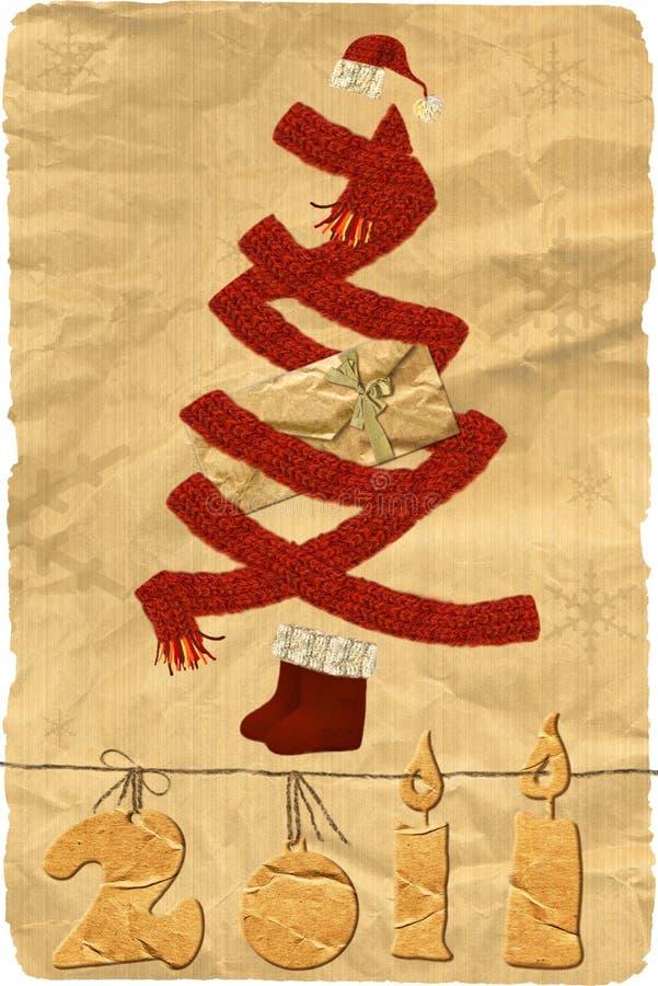 Needlework. Cartão de Natal ilustração stock