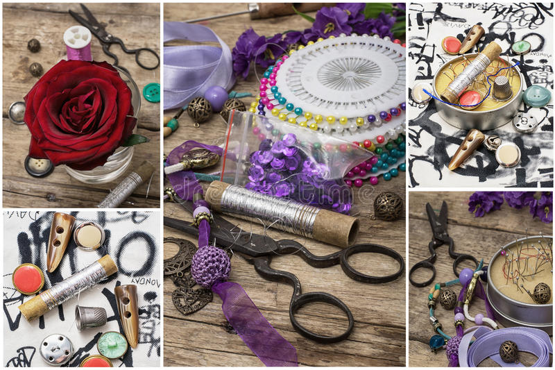 Needlework. Collage with a set of sewing accessories for sewing and needlework royalty free stock photography