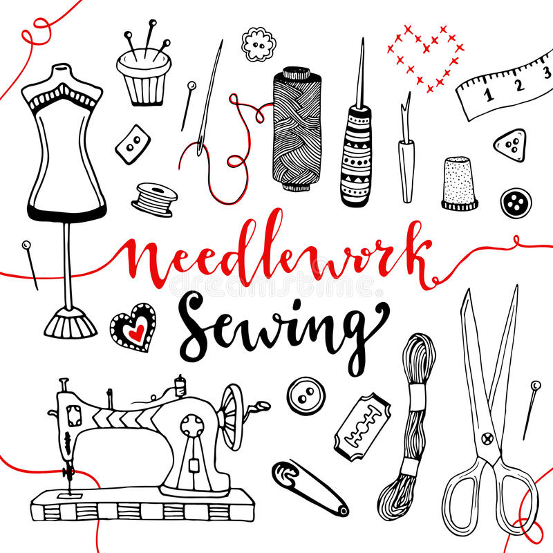 Download Needlework And Sewing Equipment Elements Vector Hand Drawn Doodle Art With Craft Supplies