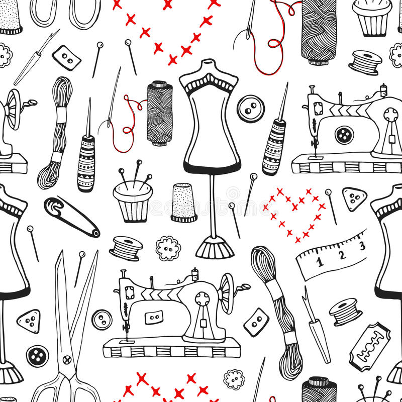 Needlework And Sewing Equipment Seamless Pattern. Vector Hand Drawn ...