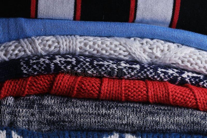 Needlework texture. Wool sweater knitting stock image