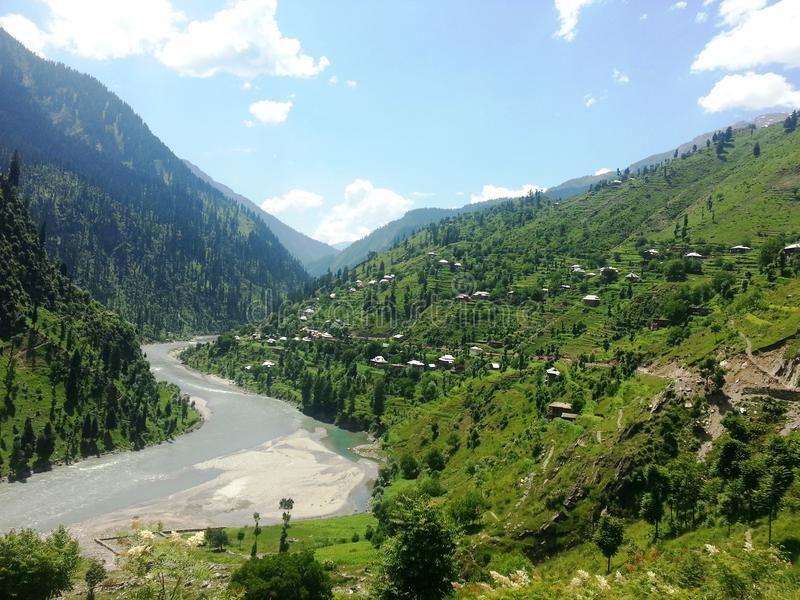 Neelam Valley Kashmir Pakistan. Beautiful view of valley along with Neelam River stock photography
