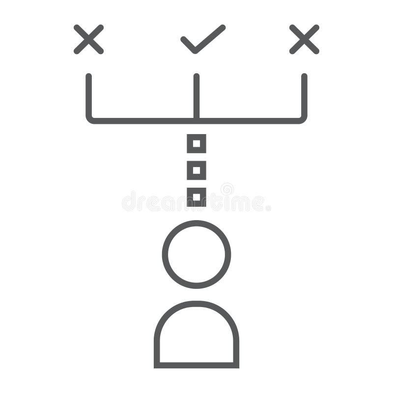 Neem besluit dun lijnpictogram, ontwikkeling vector illustratie
