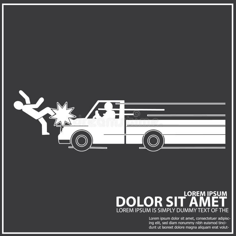 Neem de botsing van de vrachtwagensnelheid met een voetganger op vector illustratie