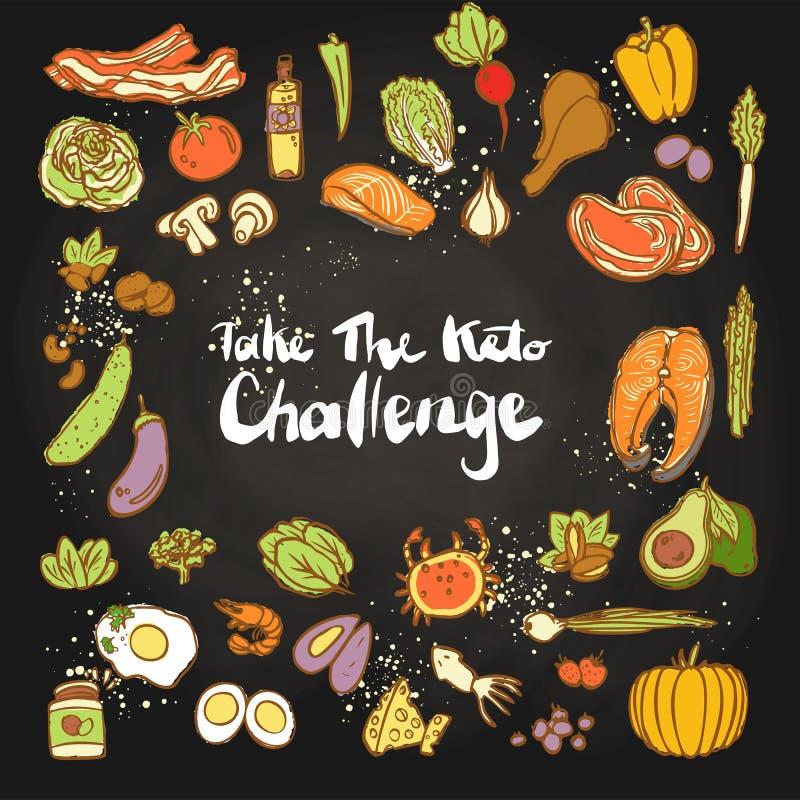 Neem de Keto Uitdaging - Ketogenic illustratie van de voedselvector gekleurde schets Gezond keto voedsel - vetten, proteïnen en royalty-vrije illustratie