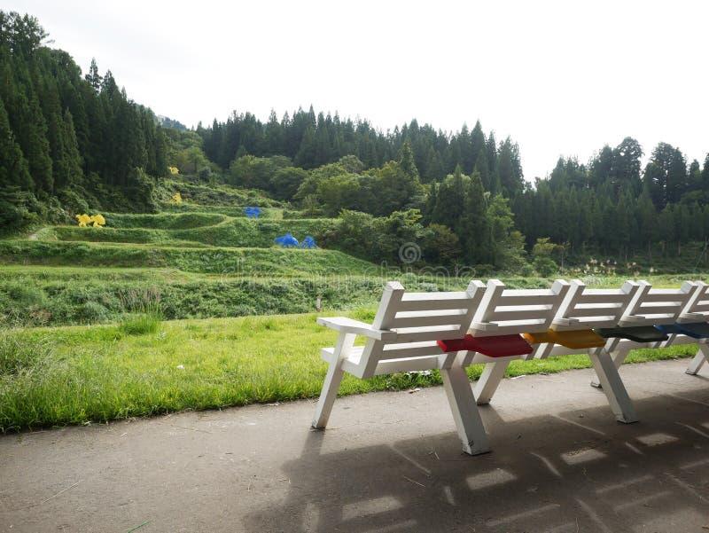 Neem een rust met stoel in de tuin stock fotografie