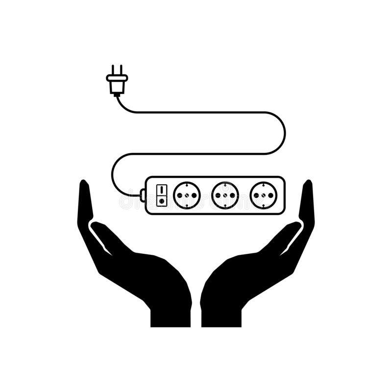 Neem het pictogram van de zorgelektriciteit Sparen de Handen van het elektriciteitsteken en het teken van het uitbreidingskoord vector illustratie