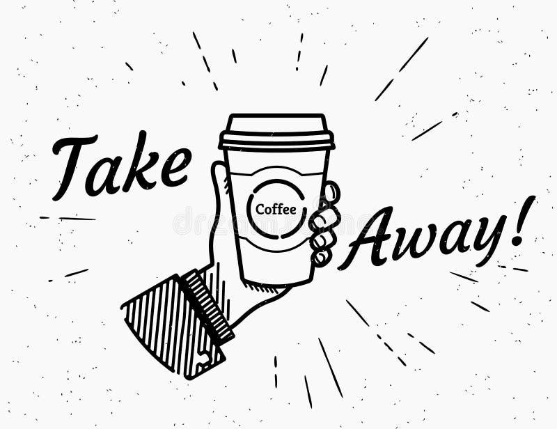 Neem koffie weg retro illustratie vector illustratie