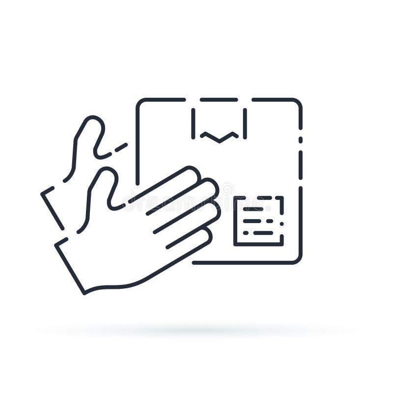 Neem punt voor op ontvangen orde en verzamelen pakket, de leveringsdiensten en het verschepen concept Pakketverzending vector illustratie