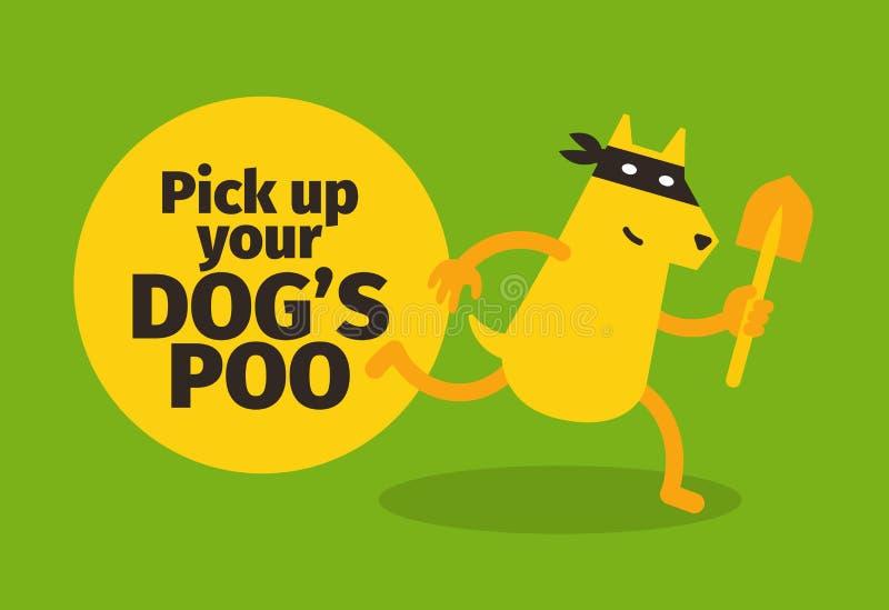 Neem uw hondenpoo op Affichewaarschuwing Hondgangster met een schop Humeur en ventilator Teken in park het lopen Groene Achtergro vector illustratie