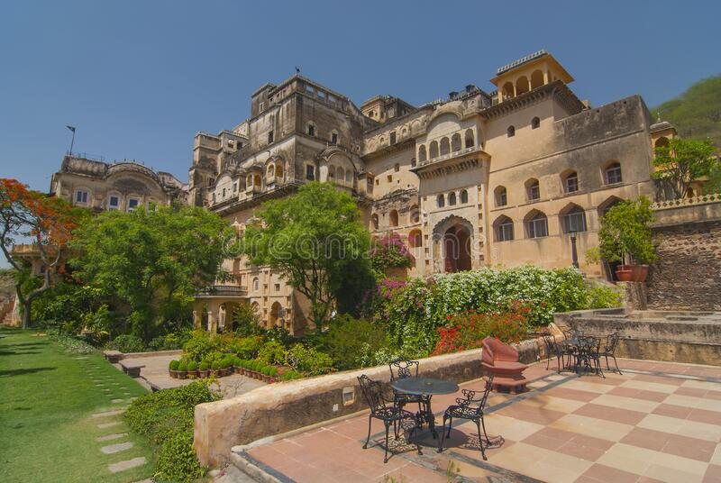 The Neemrana Fort Palace Hotel comprises a fully restored medieval palace in India, Rajasthan.  stock photography