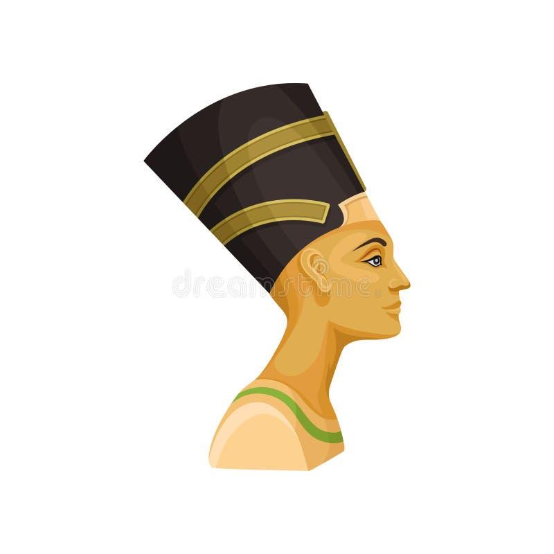 Nefertiti画象  古老埃及女王/王后 埃及法老王的妻子 电视节目预告海报或横幅的平的传染媒介  皇族释放例证