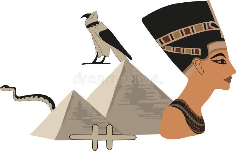 nefertiti金字塔 向量例证