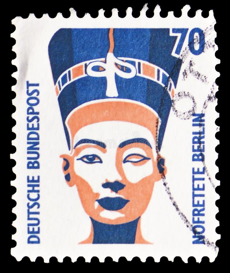 Nefertiti byst, turist- siktserie, circa 1988 arkivbilder