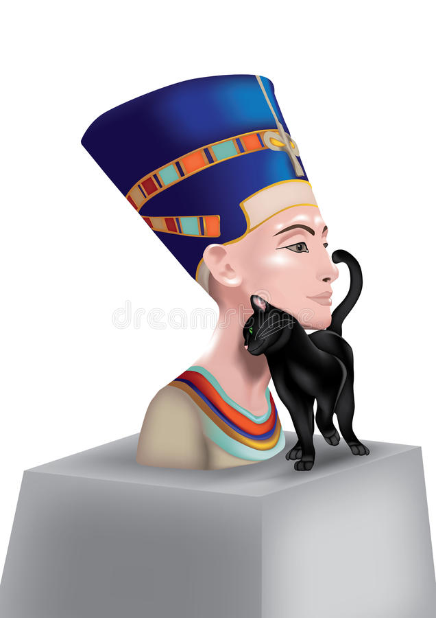 Nefertiti With Cat Royalty Free Stock Images