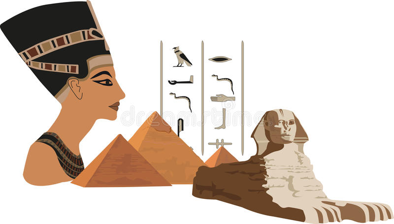 Nefertiti e as pirâmides ilustração royalty free