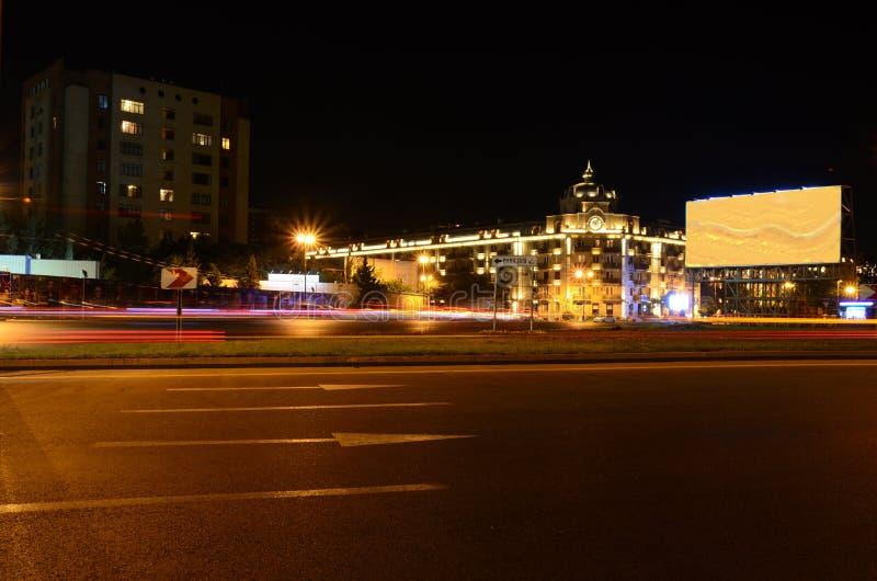 Neftchilar Avenue evening.Baku,Azerbaijan. 11-07-2019.Baku.Azerbaijan.Light on the night Neftchilar Avenue royalty free stock photo