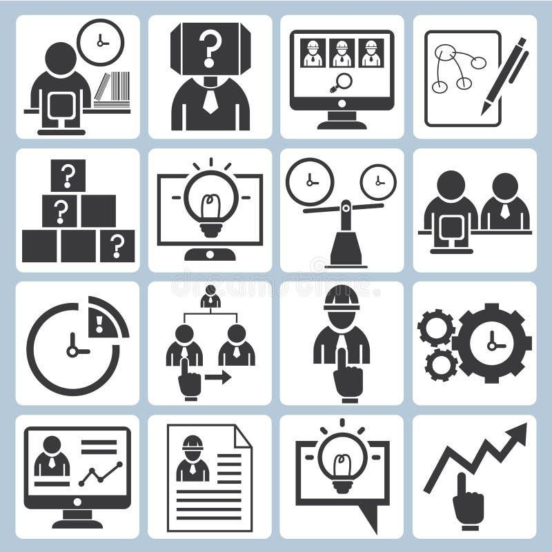 Negócio, ícones do desenvolvimento de organização ilustração stock