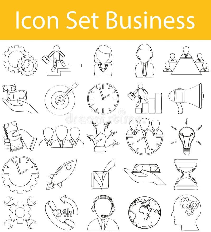 Negócio ajustado alinhado garatuja tirado do ícone ilustração royalty free