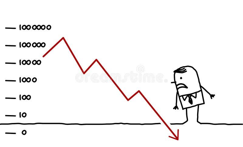 Negócio & para baixo ilustração stock