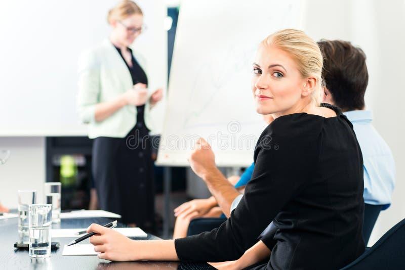Negócio - apresentação da equipe no whiteboard fotografia de stock