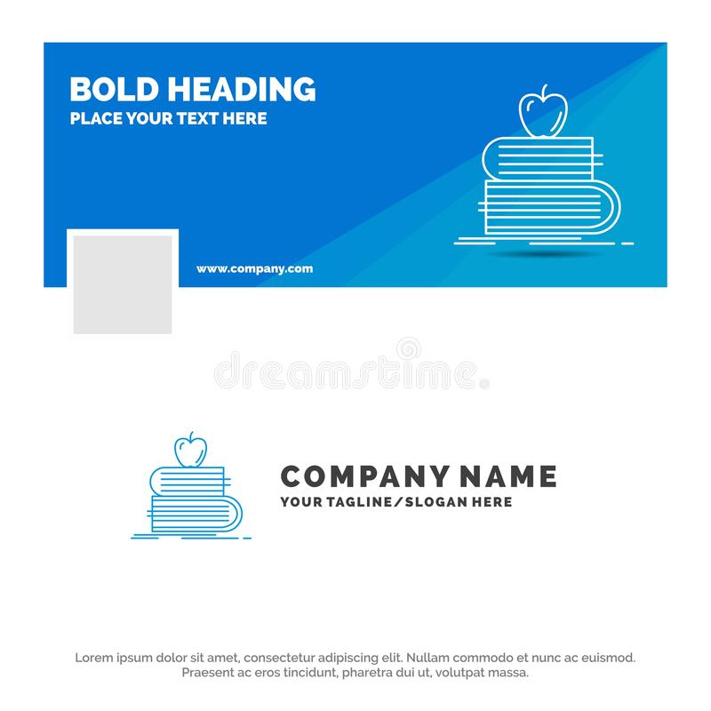 Negócio azul Logo Template para de volta à escola, escola, estudante, livros, maçã Projeto da bandeira do espa?o temporal de Face ilustração do vetor