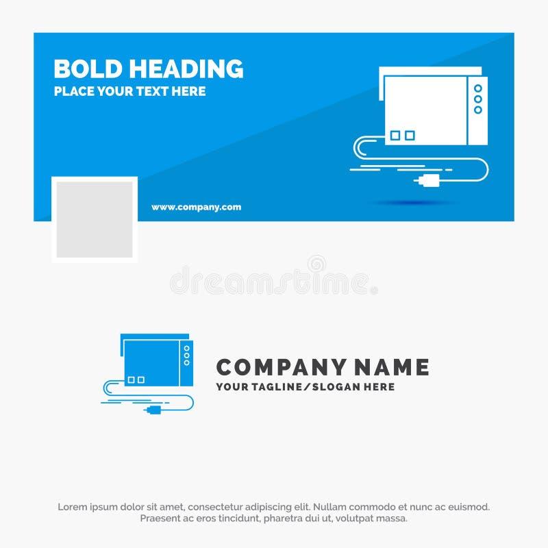 Negócio azul Logo Template para o áudio, cartão, externo, relação, som Projeto da bandeira do espa?o temporal de Facebook Bandeir ilustração stock
