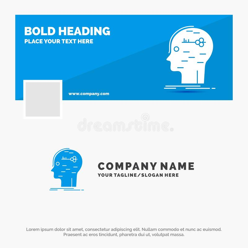 Negócio azul Logo Template para o cérebro, corte, corte, chave, mente Projeto da bandeira do espa?o temporal de Facebook fundo da ilustração stock
