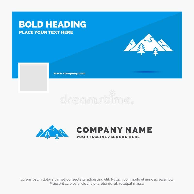 Negócio azul Logo Template para rochas, monte, paisagem, natureza, montanha Projeto da bandeira do espa?o temporal de Facebook Ba ilustração stock