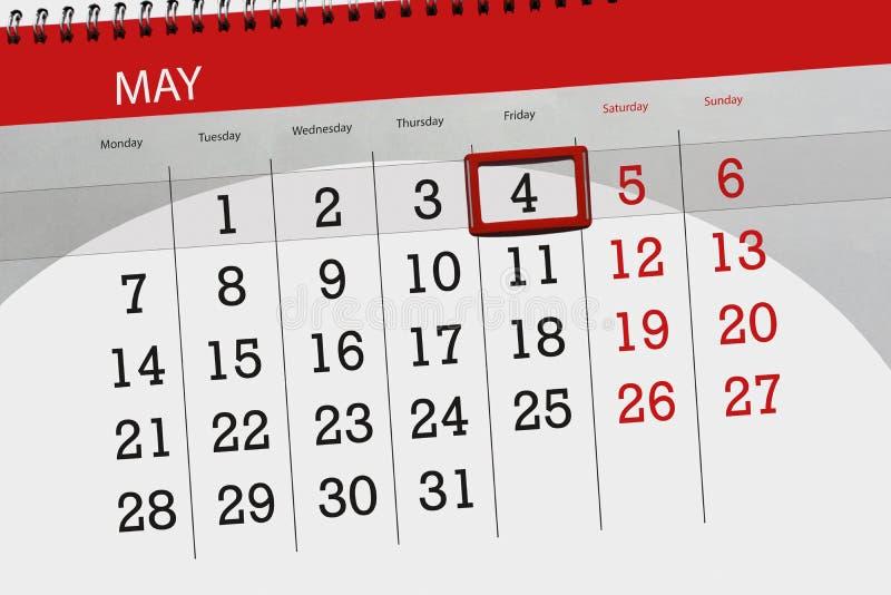 Negócio calendário página 2018 o 4 de maio diário imagem de stock royalty free