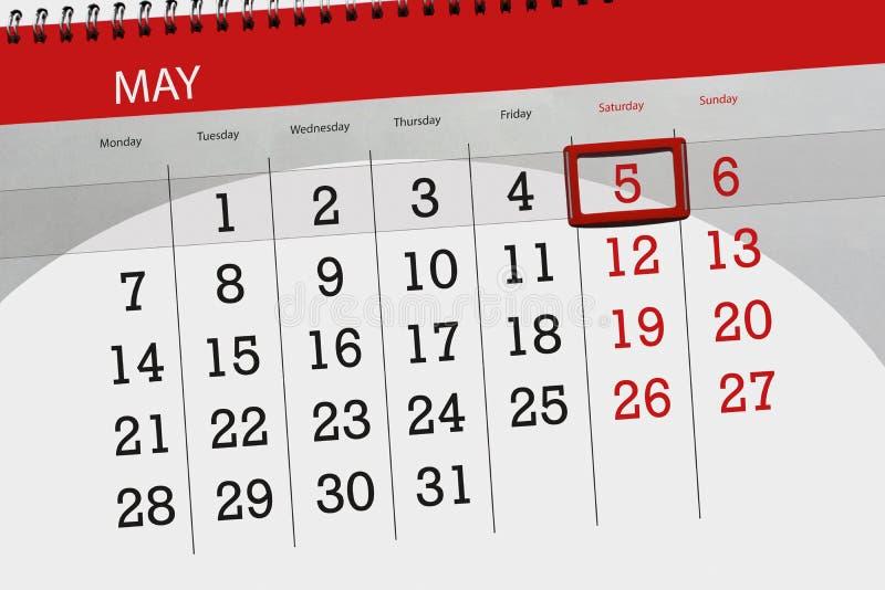 Negócio calendário página 2018 o 5 de maio diário imagem de stock