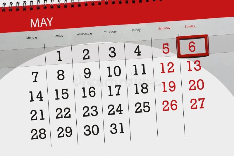 Negócio calendário página 2018 o 6 de maio diário fotos de stock