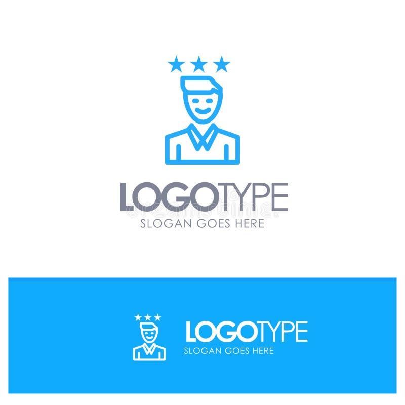 Negócio, carreira, crescimento, trabalho, logotipo azul do esboço do trajeto com lugar para o tagline ilustração royalty free