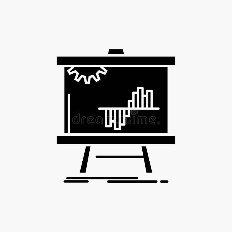 Negócio, carta, dados, gráfico, ícone do Glyph do stats Ilustra??o isolada vetor ilustração stock