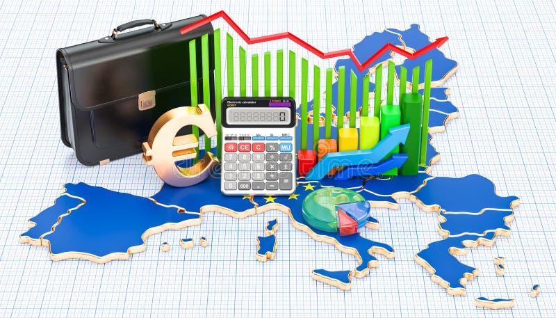 Negócio, comércio e finança no conceito da União Europeia, 3D ilustração stock