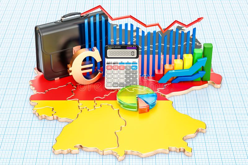 Negócio, comércio e finança no conceito de Alemanha, rendição 3D ilustração do vetor