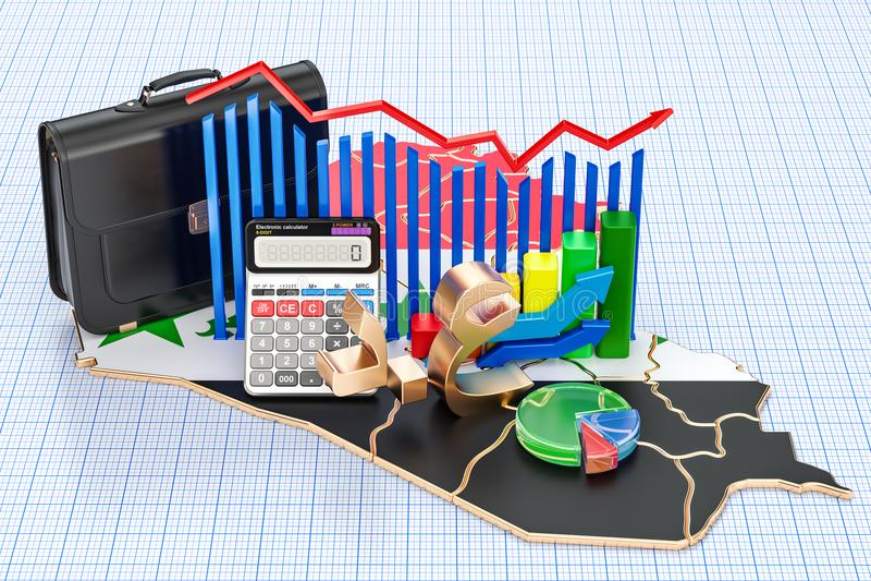 Negócio, comércio e finança no conceito de Iraque, rendição 3D ilustração do vetor