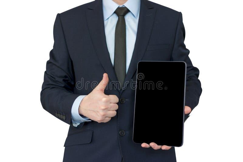 negócio, comunicação, tecnologia moderna e conceito do escritório - buisnessman com o computador do PC da tabuleta que mostra os  imagem de stock royalty free