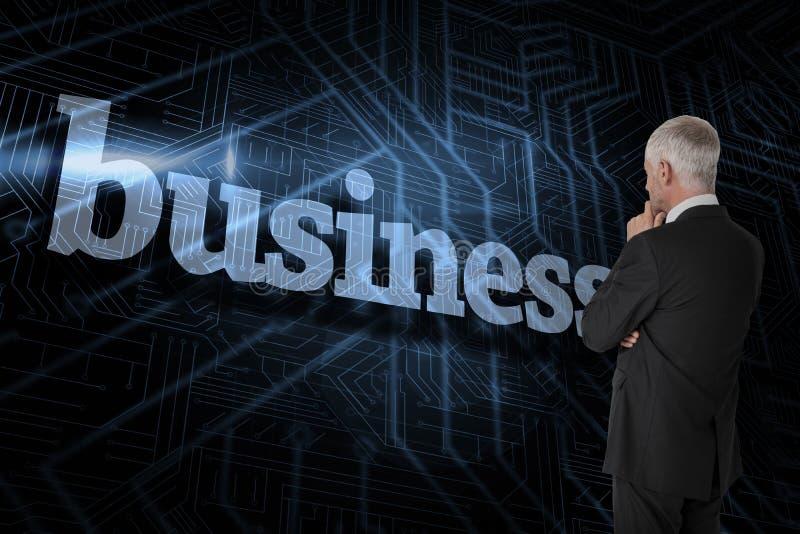 Negócio contra o fundo preto e azul futurista imagens de stock